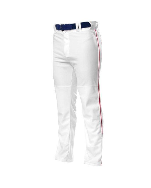 A4 Pro Style Open Bottom Baggy Cut Baseball Pants - White/ Scarlet