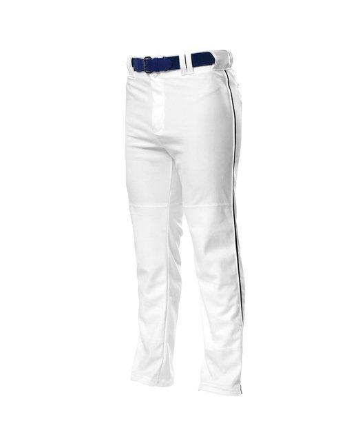 A4 Pro Style Open Bottom Baggy Cut Baseball Pants - White/ Black