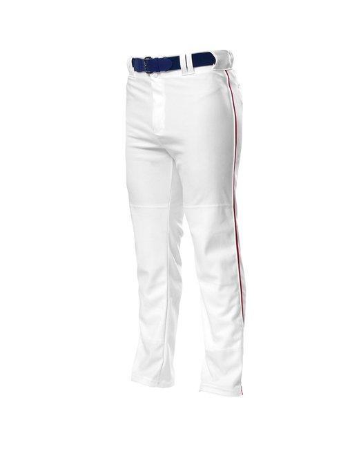 A4 Pro Style Open Bottom Baggy Cut Baseball Pants - White/ Cardinal