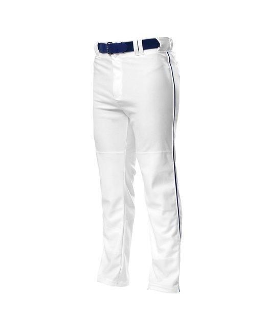 A4 Pro Style Open Bottom Baggy Cut Baseball Pants - White/ Navy