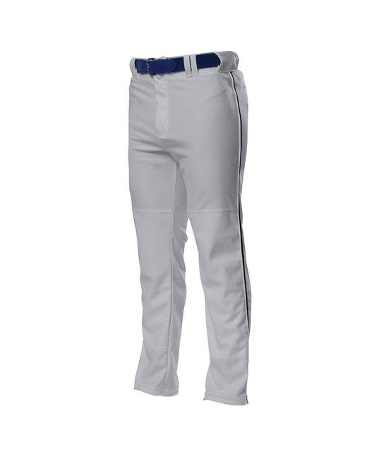A4 Pro Style Open Bottom Baggy Cut Baseball Pants - Grey/ Black