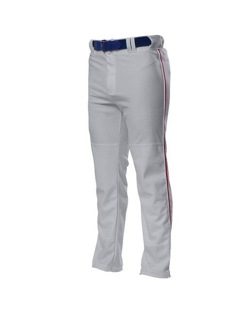 A4 Pro Style Open Bottom Baggy Cut Baseball Pants - Grey/ Cardinal