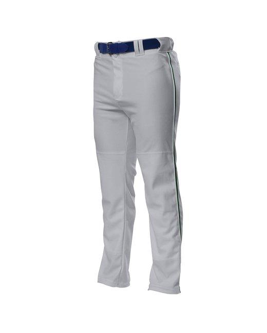 A4 Pro Style Open Bottom Baggy Cut Baseball Pants - Grey/ Forest