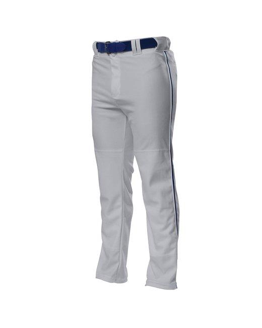 A4 Pro Style Open Bottom Baggy Cut Baseball Pants - Grey/ Navy