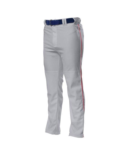 A4 Pro Style Open Bottom Baggy Cut Baseball Pants - Grey/ Scarlet