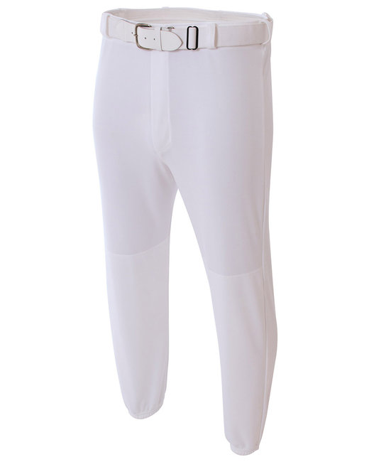 A4 Adult Double Play Polyester Baseball Pant with Elastic Waist and Belt Loops - White