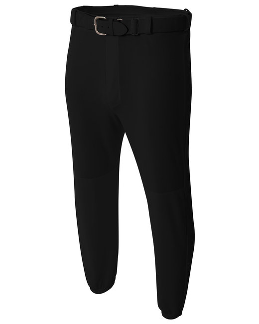 A4 Adult Double Play Polyester Baseball Pant with Elastic Waist and Belt Loops - Black