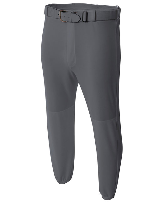 A4 Adult Double Play Polyester Baseball Pant with Elastic Waist and Belt Loops - Graphite