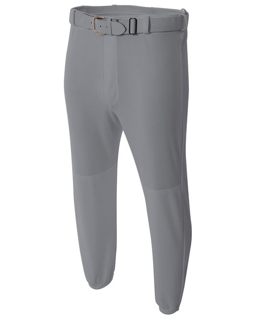 A4 Adult Double Play Polyester Baseball Pant with Elastic Waist and Belt Loops - Grey