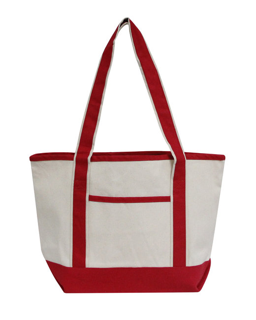 OAD Promo Heavyweight Med. Bat Tote - Natural/ Red