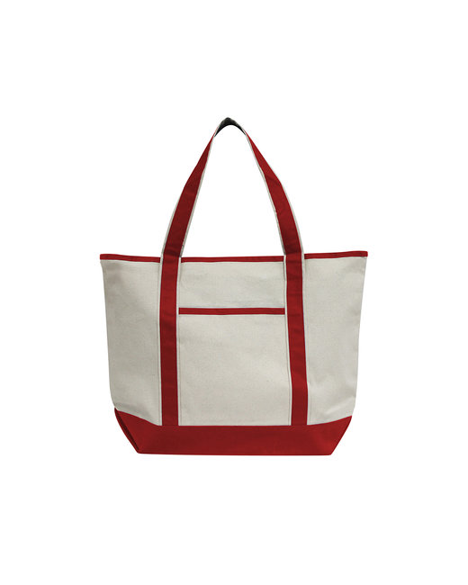 OAD Promo Heavyweight Large Bat Tote - Natural/ Red
