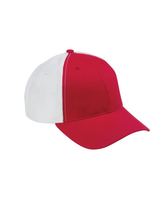 Big Accessories Old School Baseball Cap with Technical Mesh - Red/ White