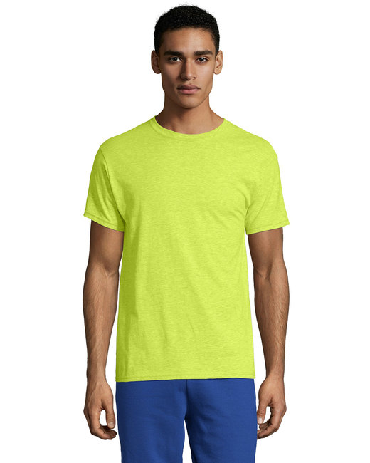 Hanes Unisex 4.5 oz. X-Temp® Performance T-Shirt - Neon Lemon Hthr