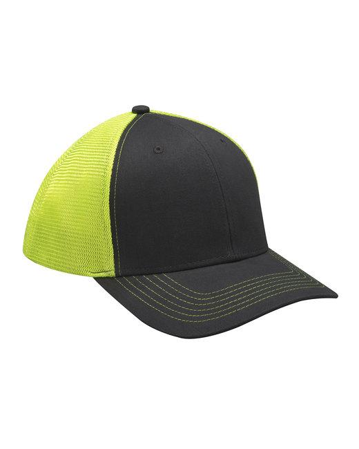 Adams Brushed Cotton/Soft Mesh Trucker Cap - Neon Yellow