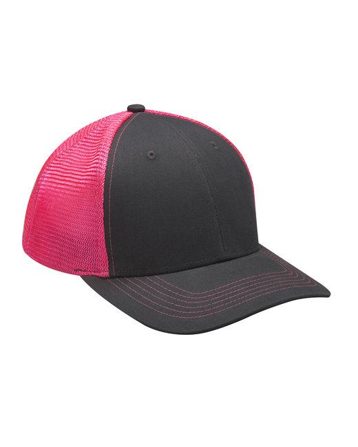 Adams Brushed Cotton/Soft Mesh Trucker Cap - Neon Pink