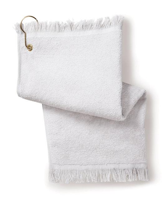 Towels Plus FringedFingertip Towel with Corner Grommet and Hook - White