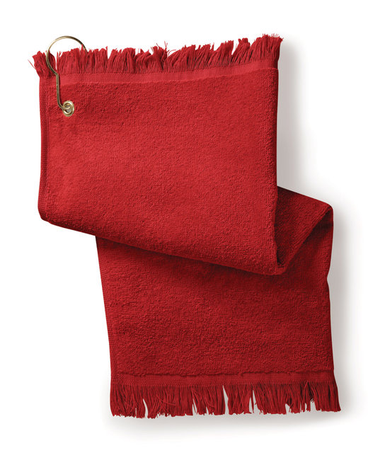 Towels Plus FringedFingertip Towel with Corner Grommet and Hook - Red
