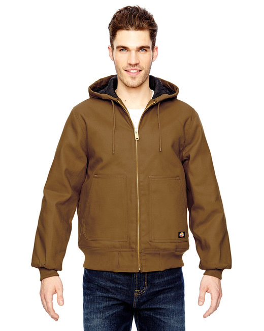 Dickies Men's 10 oz. Hooded Duck Jacket - Brown Duck