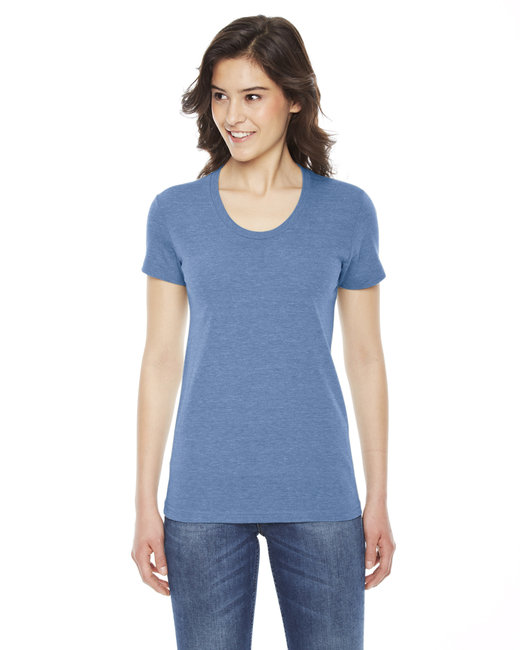 American Apparel Ladies' Triblend Short-Sleeve Track T-Shirt - Athletic Blue