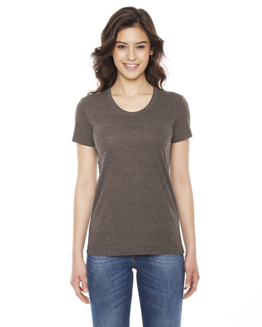 American Apparel Ladies' Triblend Short-Sleeve Track T-Shirt - Tri Coffee