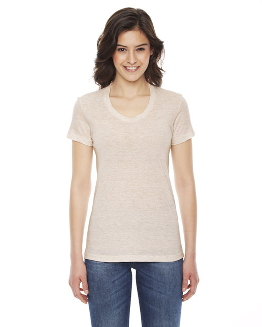 American Apparel Ladies' Triblend Short-Sleeve Track T-Shirt - Tri Oatmeal