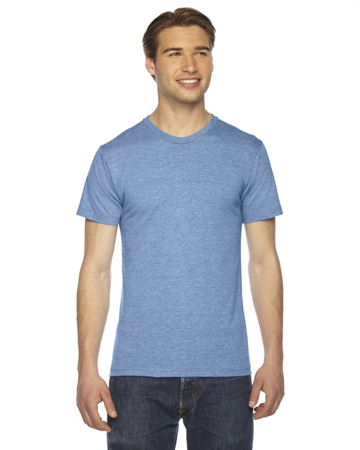 American Apparel Unisex Triblend Short-Sleeve Track T-Shirt - Athletic Blue
