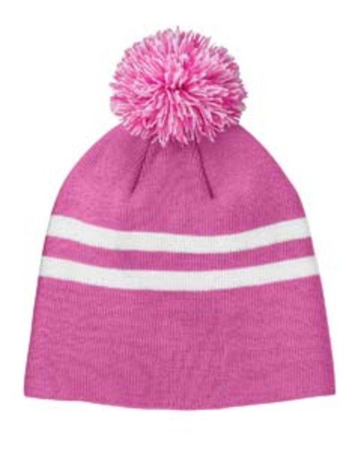 Team 365 Striped Pom Beanie - Sp Ch Pink/ Wht