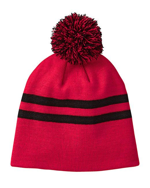 Team 365 Striped Pom Beanie - Sp Red/ Black