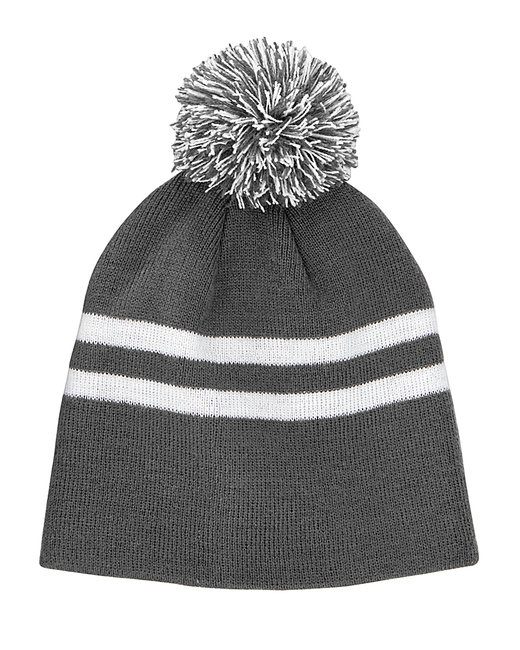 Team 365 Striped Pom Beanie - Sp Graphite/ Wht
