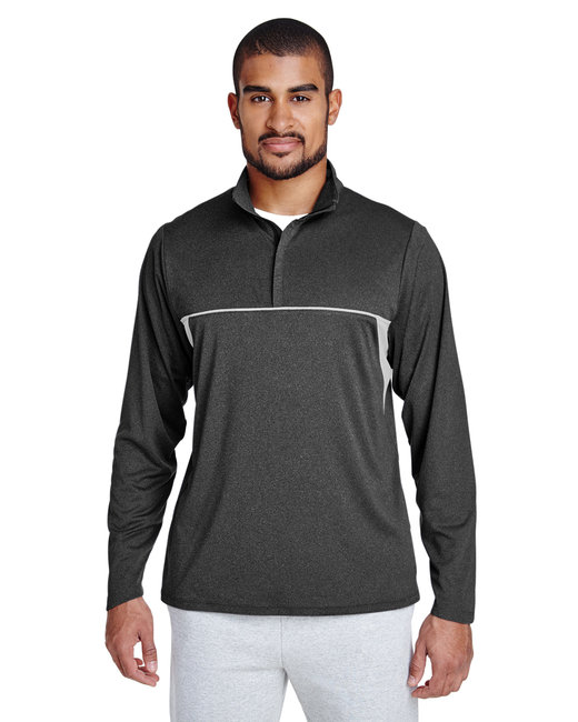 Team 365 Men's Excel M�lange Interlock Performance Quarter-Zip Top - Dk Grey Heather