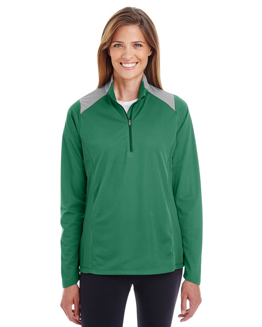 Team 365 Ladies' Command Colorblock Snag Protection Quarter-Zip - Sp D Grn/ Sp Grp