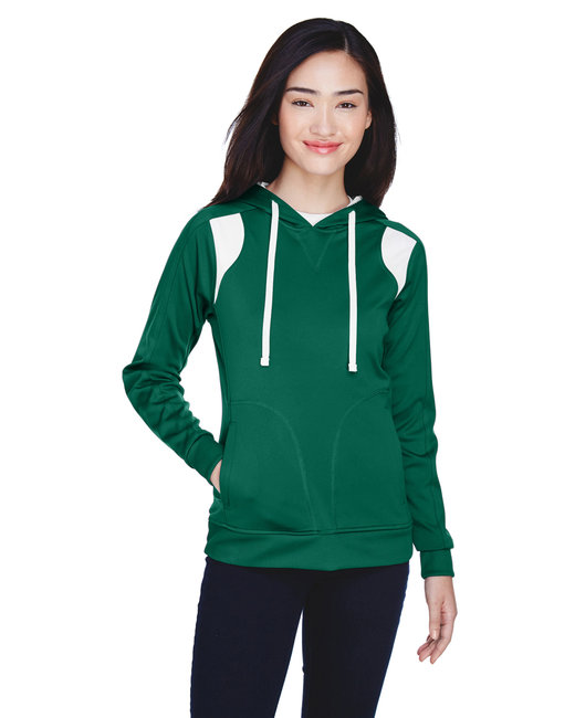 Team 365 Ladies' Elite Performance Hoodie - Sp Forest/ White
