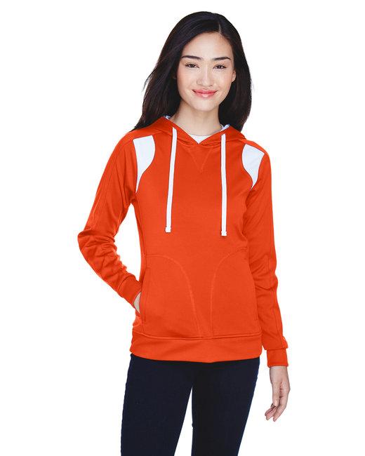 Team 365 Ladies' Elite Performance Hoodie - Sp Orange/ White