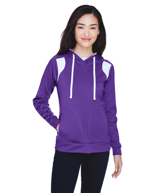 Team 365 Ladies' Elite Performance Hoodie - Sp Purple/ White