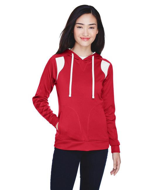 Team 365 Ladies' Elite Performance Hoodie - Sport Red/ White