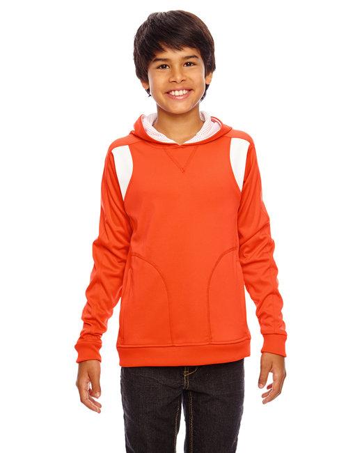 Team 365 Youth Elite Performance Hoodie - Sp Orange/ White