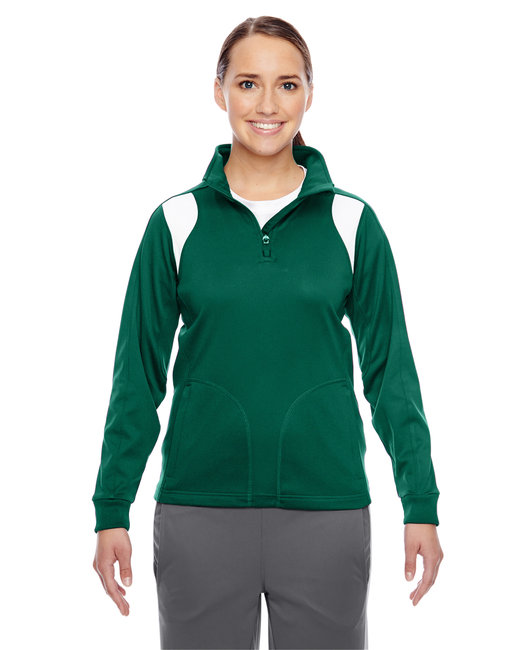Team 365 Ladies' Elite Performance Quarter-Zip - Sp Forest/ White