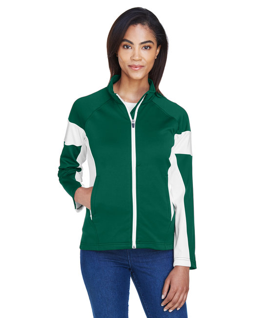 Team 365 Ladies' Elite Performance Full-Zip - Sp Forest/ White