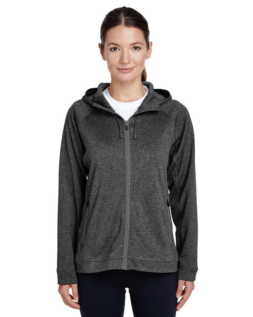 Team 365 Ladies' Excel Mélange Performance Fleece Jacket - D Gry Hth/ Sp Gr