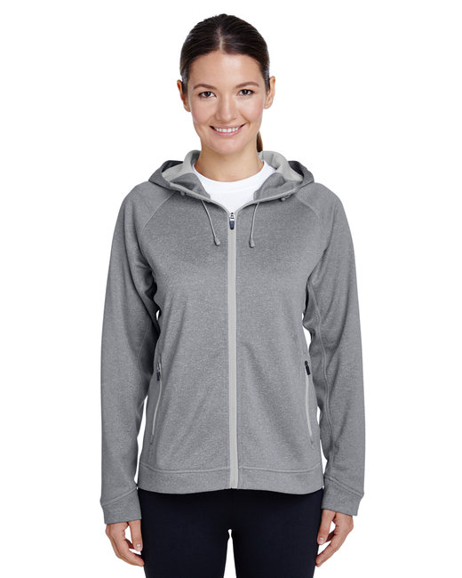 Team 365 Ladies' Excel Mélange Performance Fleece Jacket - Ath Hth/ Sp Silv