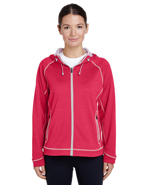 Team 365 Ladies' Excel Mélange Performance Fleece Jacket - Sp Rd Ht/ Sp Sil