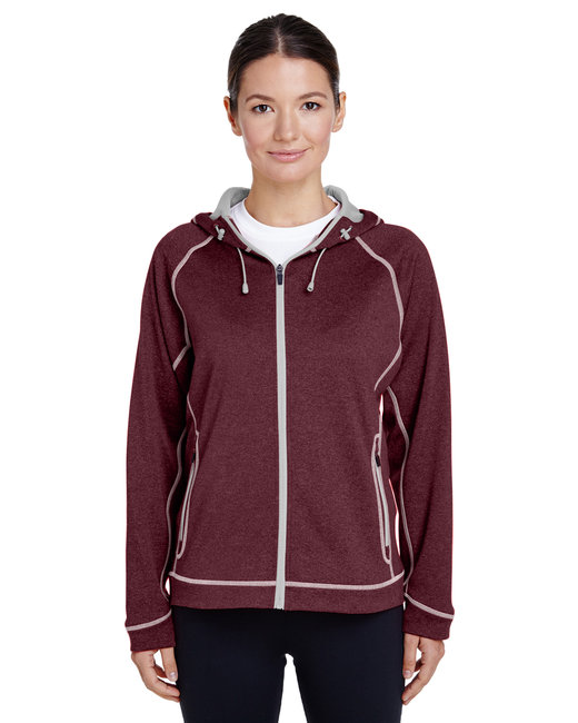 Team 365 Ladies' Excel Mélange Performance Fleece Jacket - Sp Mr Ht/ Sp Sil
