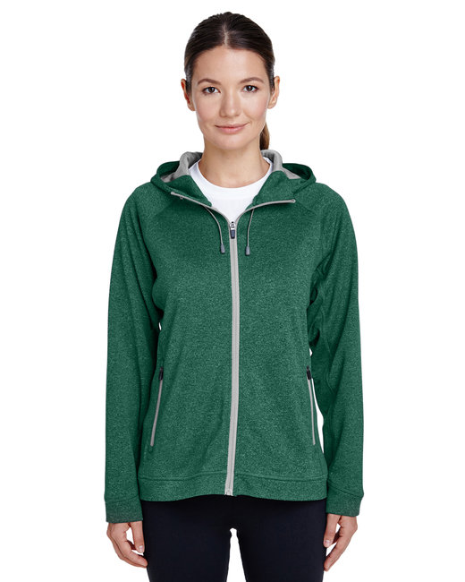 Team 365 Ladies' Excel Mélange Performance Fleece Jacket - Sp Fr Ht/ Sp Sil