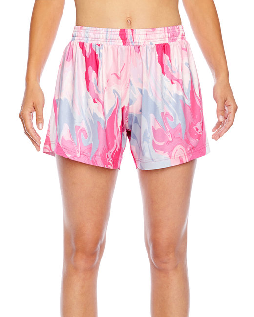 Team 365 Ladies' Tournament Sublimated Pink Swirl Short - Sport Pink Swirl