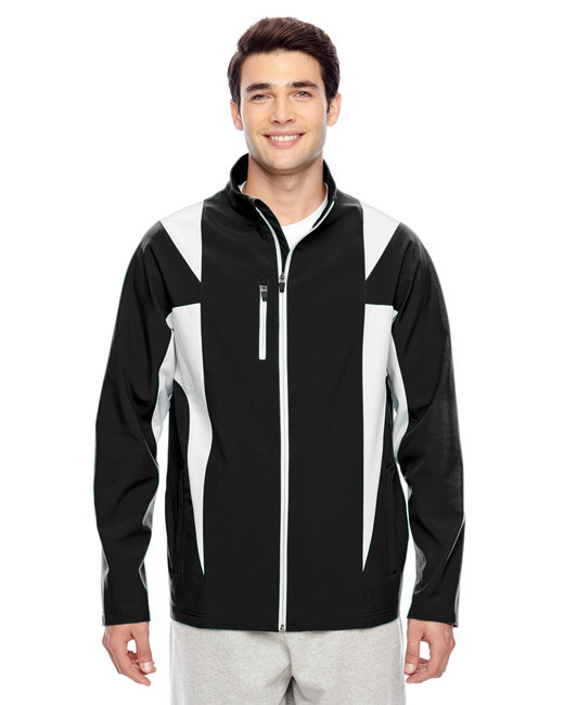 Team 365 Men's Icon Colorblock Soft Shell Jacket - Black/ Sp Silver
