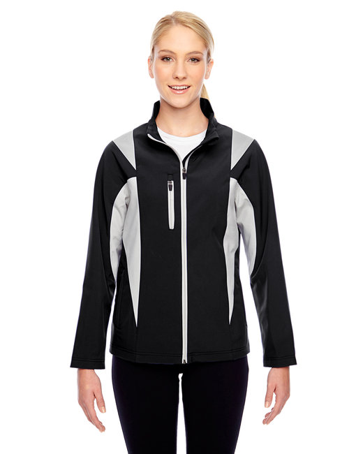Team 365 Ladies' Icon Colorblock Soft Shell Jacket - Black/ Sp Silver