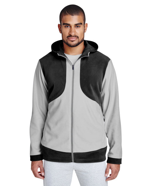 Team 365 Men's Rally Colorblock Microfleece Jacket - Black/ Sp Silver