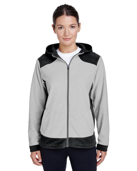 Team 365 Ladies' Rally Colorblock Microfleece Jacket - Black/ Sp Silver