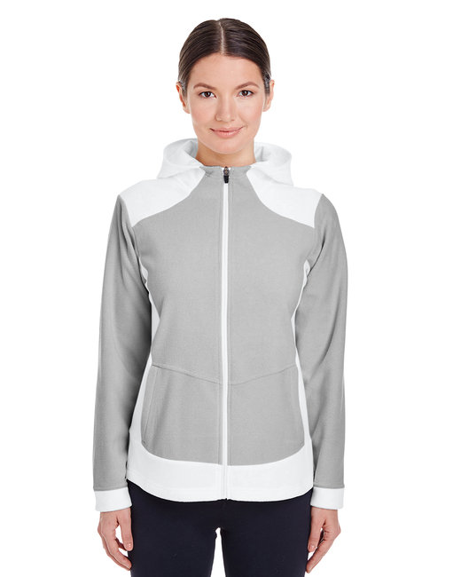 Team 365 Ladies' Rally Colorblock Microfleece Jacket - White/ Sp Silver