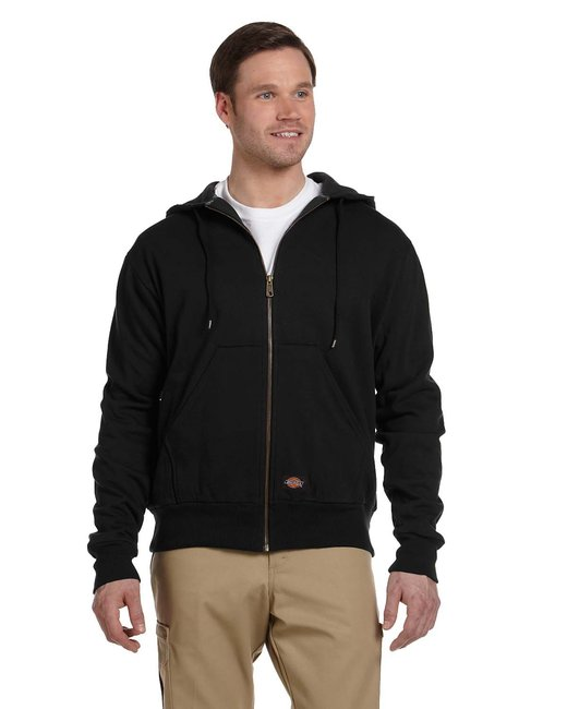 Dickies Men's 470 Gram Thermal-Lined Fleece Hooded Jacket - Black